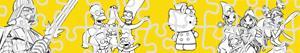 Disegni Puzzles di Cartoon caratteri da colorare